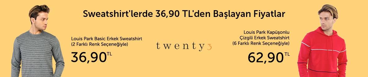 Twenty3 Sweatshirtlerde 36,90 TL'den Başlayan Fiyatlarla