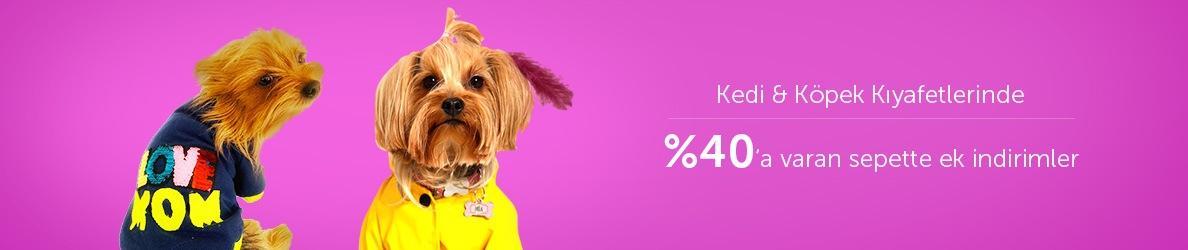 Kedi&Köpek Kıyafetlerinde %40'a Varan Sepette Ek İndirim