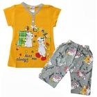 Kız Bebek Kuzu Baskılı Kaprili Pijama Takımı