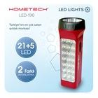 Hometech Led 190 Bataryalı Şarjlı El Feneri 21+5 SMD Led Işıldak