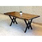 Doğal Ağaç Masif Kütük Masa Yemek Masası ( Metal Ayak )