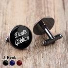 Siyah Metal Kol Düğmesi İsimli Harfli Kişiye Özel Kol Düğmeleri