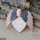 Aşkın Kanatları Gümüş Kalp Kolye İsim Kolye İsimli Kolye