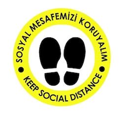 OEM C19 Sarı İngilizce 20x20cm Sosyal Mesafe Etiketi Zemin