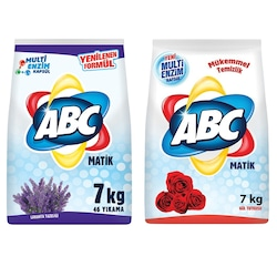 Abc Matik Toz Çamaşır Deterjanı 7 Kg Lavanta + 7 Kg Gül