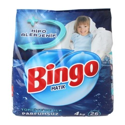 Bingo Matik Hipo Alerjenik Toz Çamaşır Deterjanı Parfümsüz 26 Yıkama 4 KG