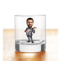 Kişiye Özel Renkli Baskılı Erkek Patron Karikatürlü Viski Bardağı