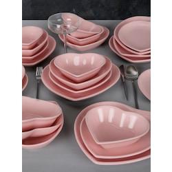 Keramika Açık Pembe Kalp Yemek Takımı 24 Parça 6 Kişilik