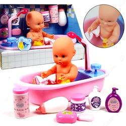 Banyo Yapan Bebek Oyuncak Aksesuarlı Set 28cm 11 Parça PC189
