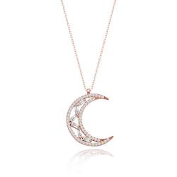 Else Silver Baget Taşlı Ay Yıldız Gümüş Kolye