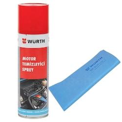 Würth Motor Temizleyici Sprey 500 ml + Güderi Bez Mavi 130 gr