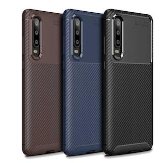 Huawei P30 Negro Silikon Kılıf Focus Fiber Karbon Zore Kamera Kor