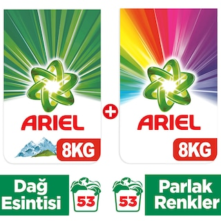 Ariel Toz Çamaşır Deterjanı Dağ Esintisi 8kg+Parlak Renkler 8kg