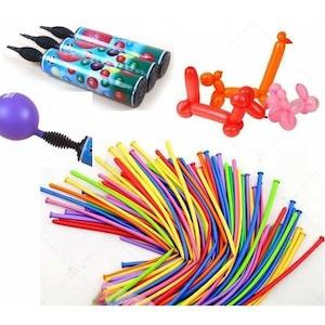 Balon Şişirme El Hava Pompası +50 Adet Karışık Renk 1Kalite Sosis