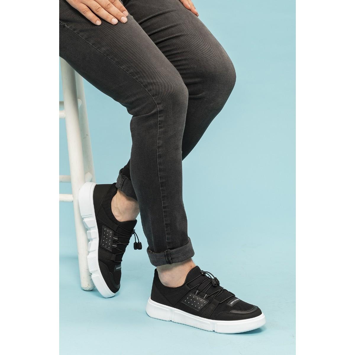 Dragon 2023 Siyah Renk Beyaz Taban Spor Erkek Ayakkabı