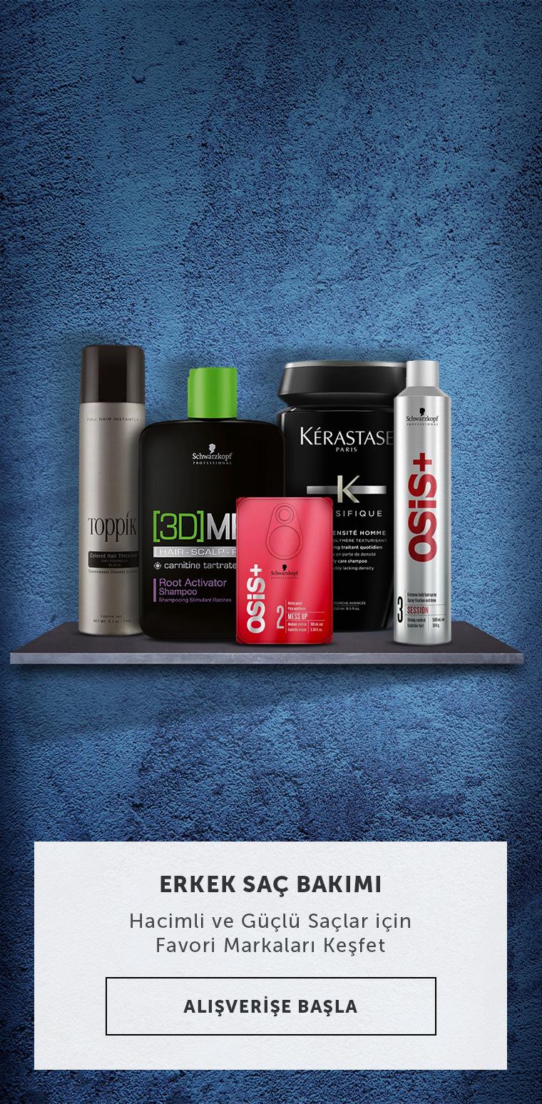 Erkek Saç Bakımı - Hacimli ve güçlü saçlar için favori markaları keşfet