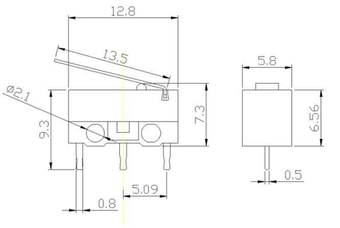Mini Micro Switch - 90 Derece