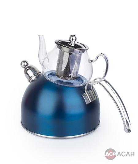 Acar Düdüklü Çaydanlık Lacivert