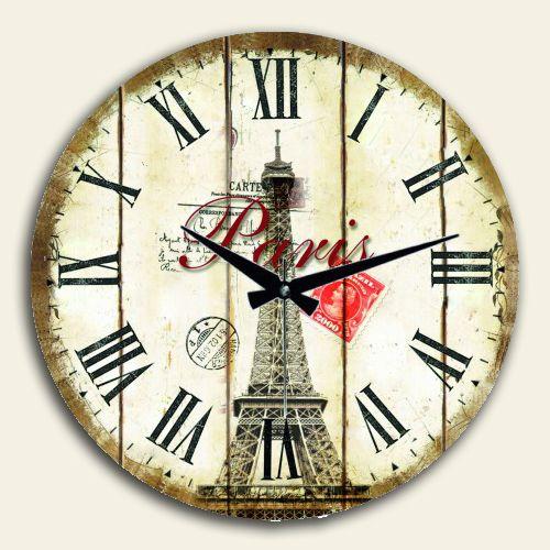 Eyfel Kulesi Romen Rakamlı Duvar Saati Yuvarlak,50 X 50 Cm