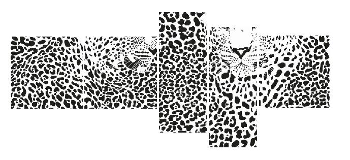 5 Parçalı Leopar Tablo Dikey,150 X 80 Cm