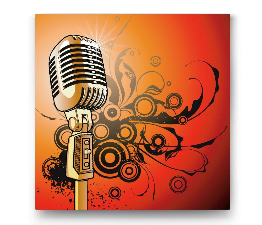 Altın Mikrofon İllüstrasyon Tablo