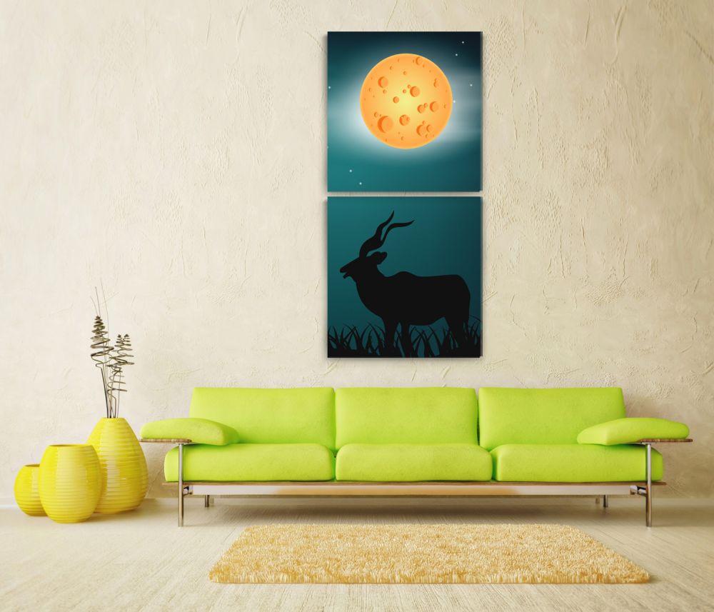 Ay Işığında Geyik 2 Parça Kanvas Tablo