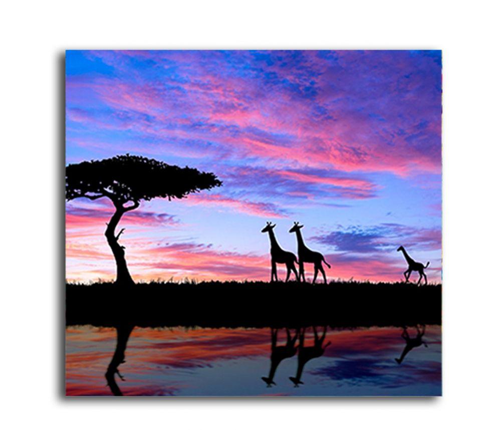 Göl Kenarında Ağaç Ve Zürafalar Tablo