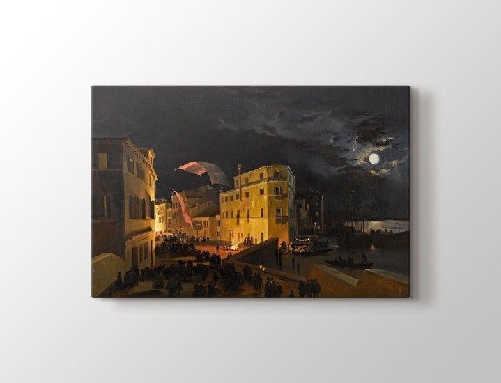 Ippolito Caffi - Nocturnal feast in Via Eugenia Tablo