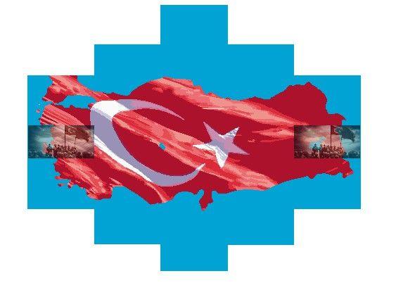 Türk Bayrağı 5 Parça Kanvas Tablo Dikey,150 X 80 Cm