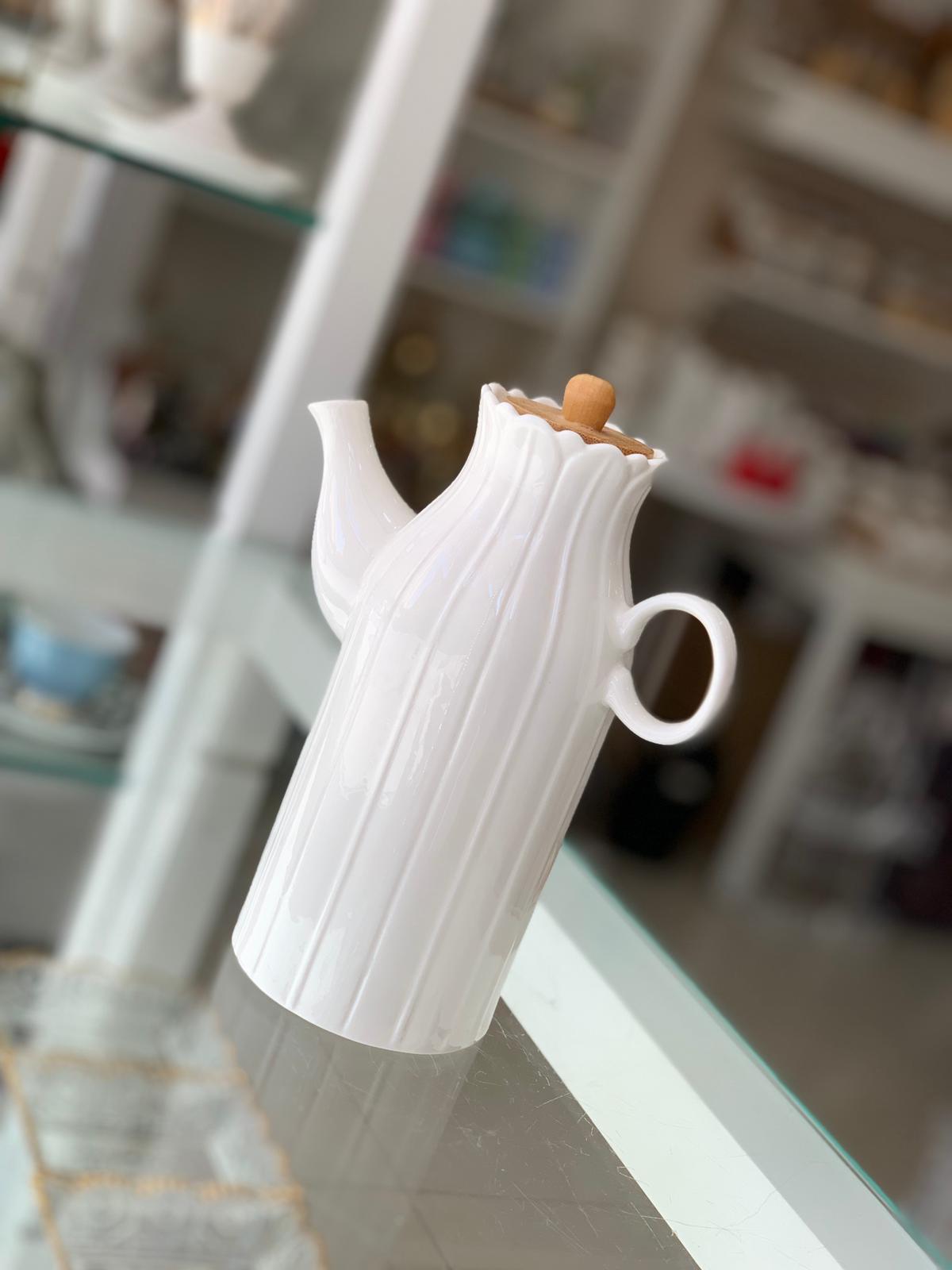 Bambu Kapaklı Porselen 600 ml Papatya Yağdanlık